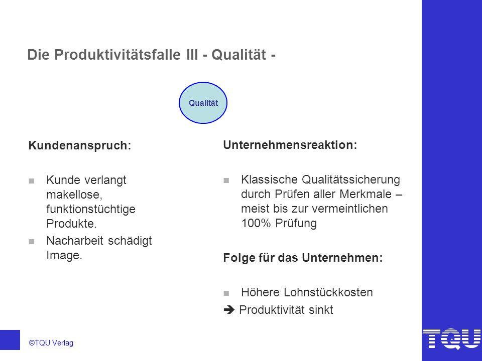 ©TQU Verlag Die Produktivitätsfalle III - Qualität - Kundenanspruch: n Kunde verlangt makellose, funktionstüchtige Produkte. n Nacharbeit schädigt Ima