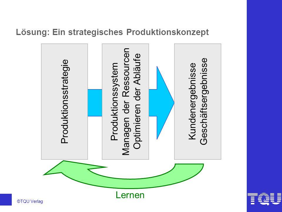 ©TQU Verlag Lösung: Ein strategisches Produktionskonzept Produktionsstrategie Produktionssystem Managen der Ressourcen Optimieren der Abläufe Kundener