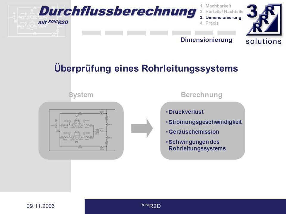 Durchflussberechnung mit RONI R2D 09.11.2006 RONI R2D Dimensionierung SystemBerechnung Druckverlust Strömungsgeschwindigkeit Geräuschemission Schwingungen des Rohrleitungssystems Überprüfung eines Rohrleitungssystems 1.Machbarkeit 2.Vorteile/ Nachteile 3.Dimensionierung 4.Praxis