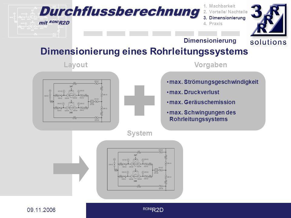 Durchflussberechnung mit RONI R2D 09.11.2006 RONI R2D Dimensionierung LayoutVorgaben max. Strömungsgeschwindigkeit max. Druckverlust max. Geräuschemis