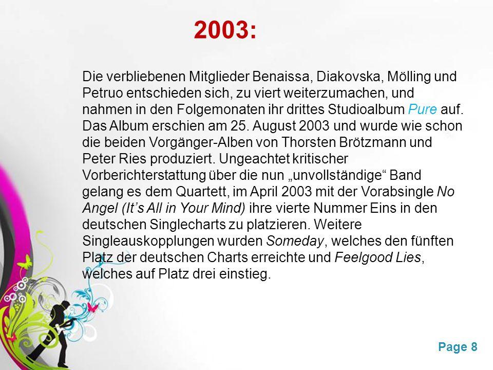 Free Powerpoint TemplatesPage 8 2003: Die verbliebenen Mitglieder Benaissa, Diakovska, Mölling und Petruo entschieden sich, zu viert weiterzumachen, und nahmen in den Folgemonaten ihr drittes Studioalbum Pure auf.