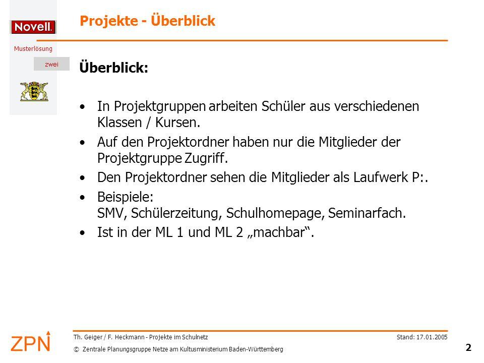 © Zentrale Planungsgruppe Netze am Kultusministerium Baden-Württemberg Musterlösung Stand: 17.01.2005 2 Th.