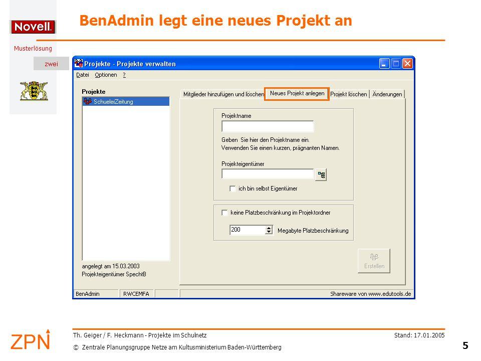 © Zentrale Planungsgruppe Netze am Kultusministerium Baden-Württemberg Musterlösung Stand: 17.01.2005 5 Th.