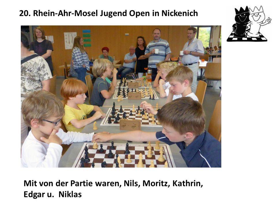 Sportliche Aktivitäten der Jugendlichen:  Teilnahme am 4. Ochtendunger Jugendschachturnier  Teilnahme am 20. Rhein-Ahr-Mosel Jugend-Open in Nickenic