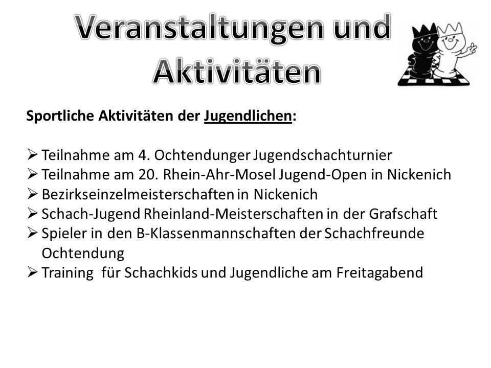 Termine für 2014:  29.03.2013 5.Ochtendunger Jugendschachturnier  11.