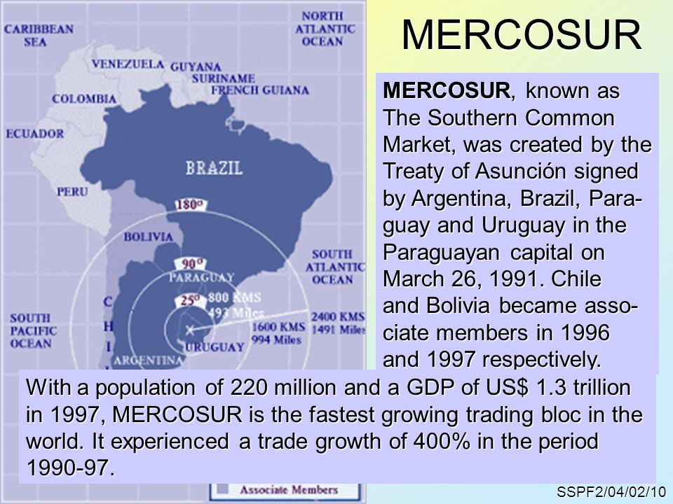 MERCOSURSSPF2/04/02/10 MERCOSUR, known as The Southern Common Market, was created by the Treaty of Asunción signed by Argentina, Brazil, Para- guay and Uruguay in the Paraguayan capital on March 26, 1991.
