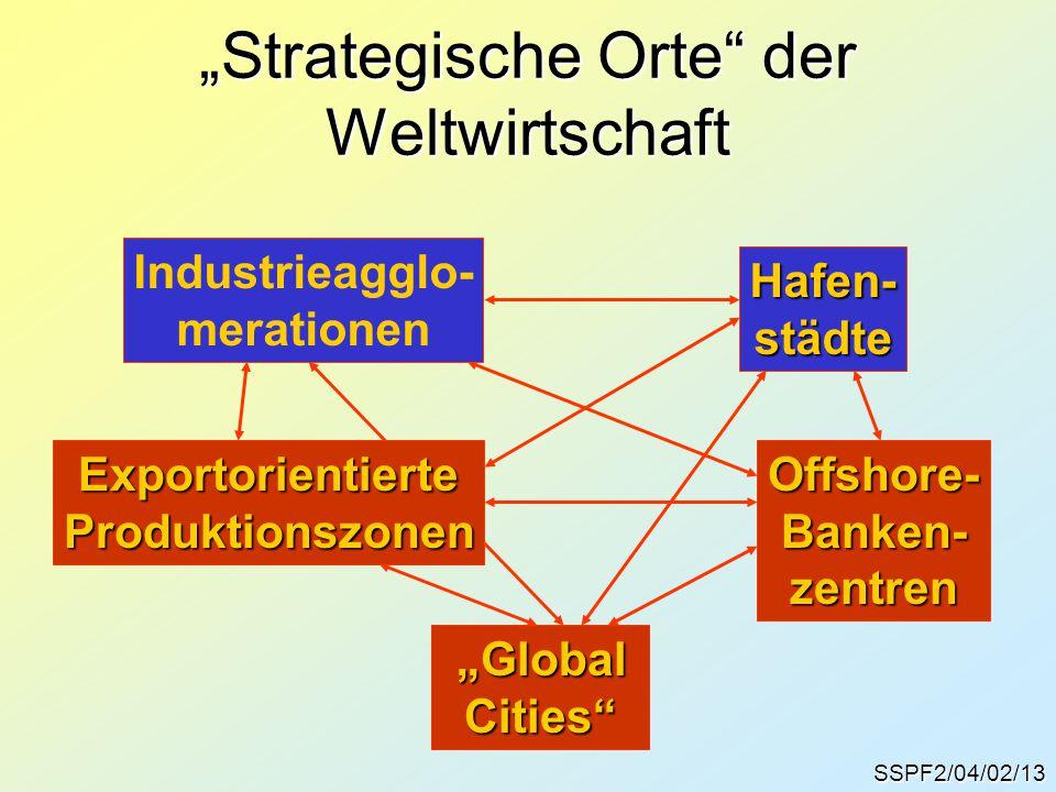 """SSPF2/04/02/13 """"Strategische Orte"""" der Weltwirtschaft Industrieagglo- merationen Hafen-städte ExportorientierteProduktionszonenOffshore-Banken-zentren"""
