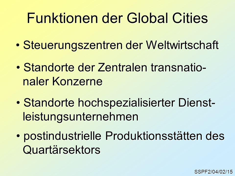 SSPF2/04/02/15 Funktionen der Global Cities Steuerungszentren der Weltwirtschaft Steuerungszentren der Weltwirtschaft Standorte der Zentralen transnat