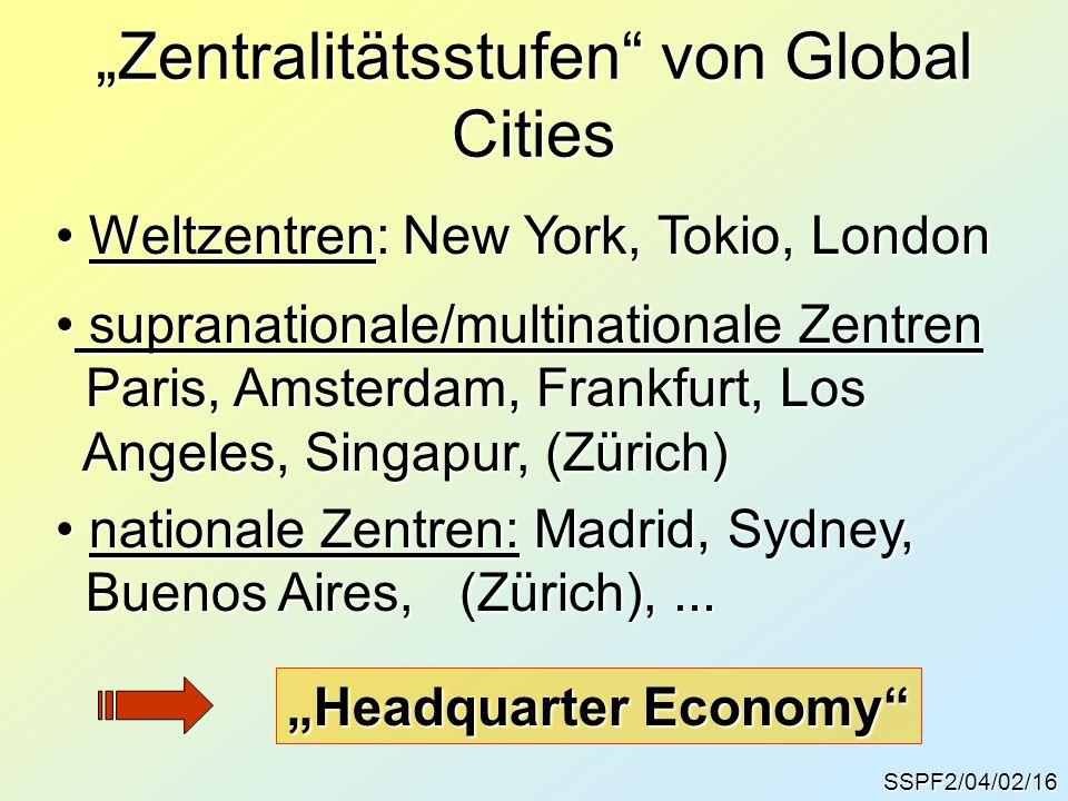 "SSPF2/04/02/16 ""Zentralitätsstufen"" von Global Cities Weltzentren: New York, Tokio, London Weltzentren: New York, Tokio, London supranationale/multina"