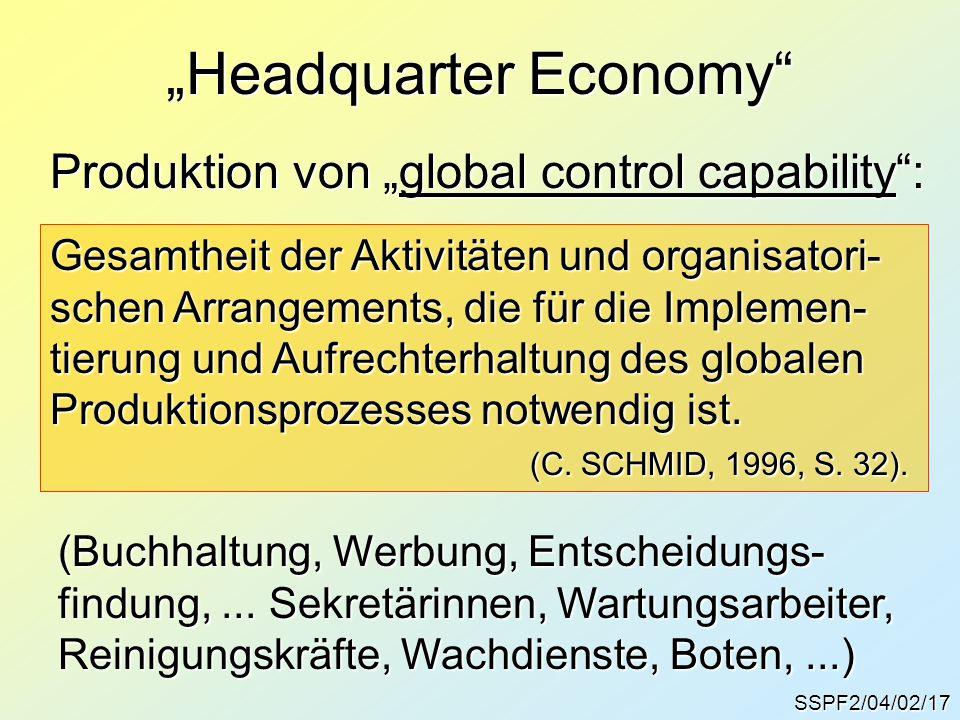 """SSPF2/04/02/17 Produktion von """"global control capability : Gesamtheit der Aktivitäten und organisatori- schen Arrangements, die für die Implemen- tierung und Aufrechterhaltung des globalen Produktionsprozesses notwendig ist."""