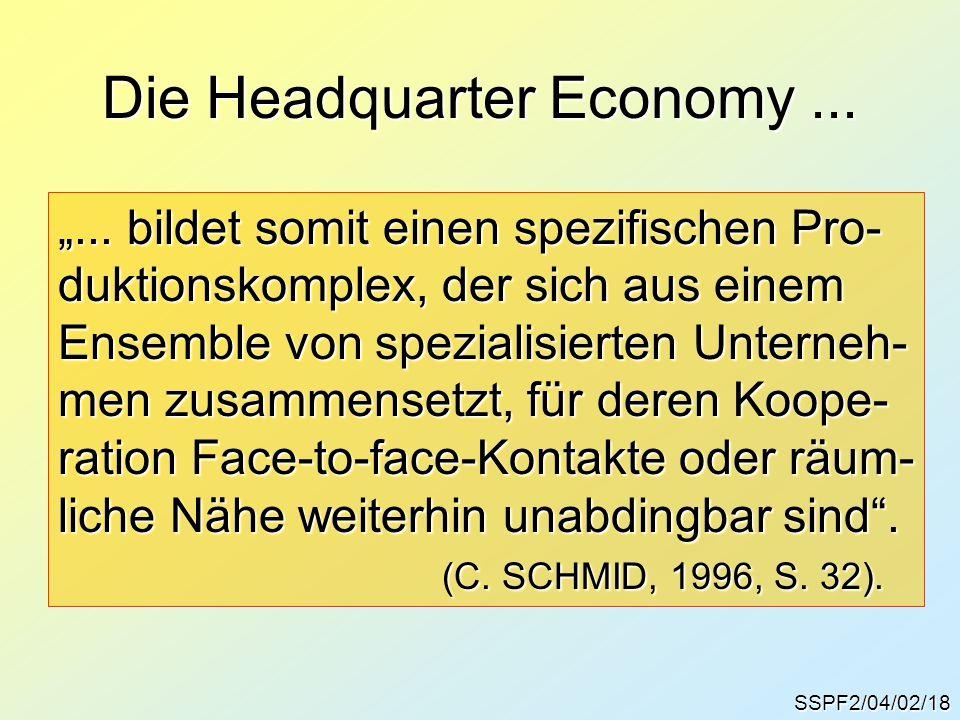 """SSPF2/04/02/18 Die Headquarter Economy... """"... bildet somit einen spezifischen Pro- duktionskomplex, der sich aus einem Ensemble von spezialisierten U"""