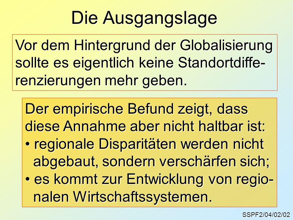SSPF2/04/02/02 Die Ausgangslage Vor dem Hintergrund der Globalisierung sollte es eigentlich keine Standortdiffe- renzierungen mehr geben. Der empirisc