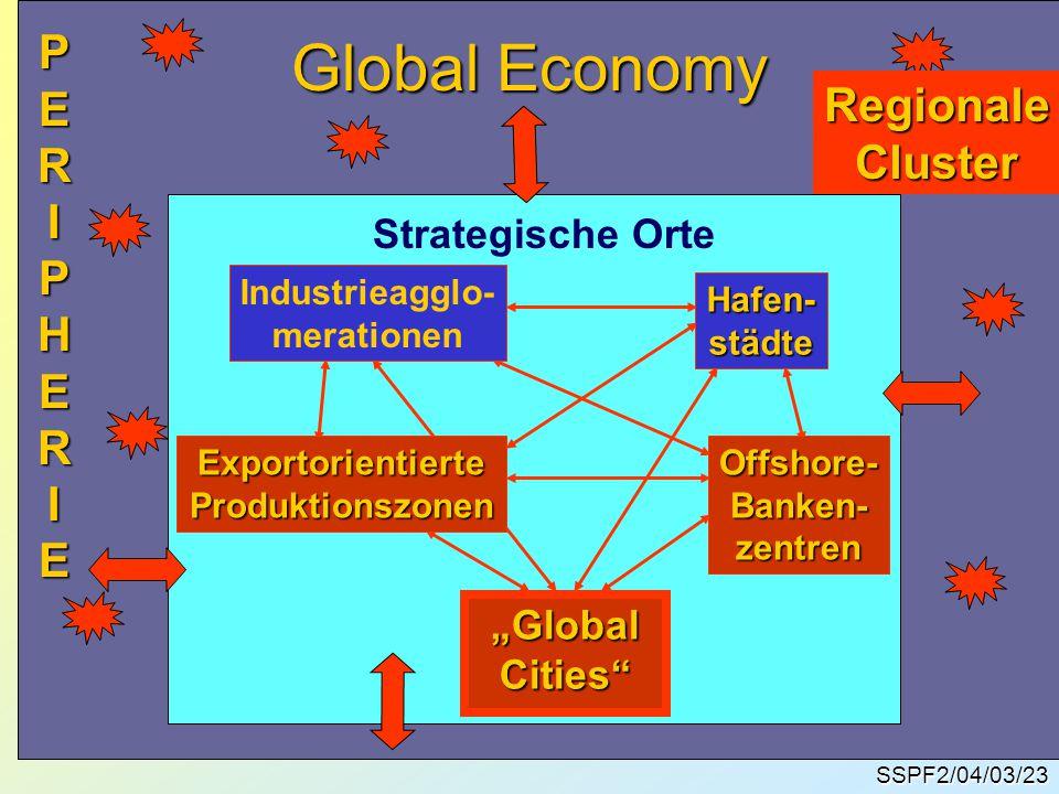 """Global Economy SSPF2/04/03/23 Industrieagglo- merationen Hafen-städte ExportorientierteProduktionszonenOffshore-Banken-zentren """"Global """"GlobalCities Strategische Orte RegionaleCluster P PPERIPHERIEERIPHERIEPPERIPHERIEERIPHERIE"""