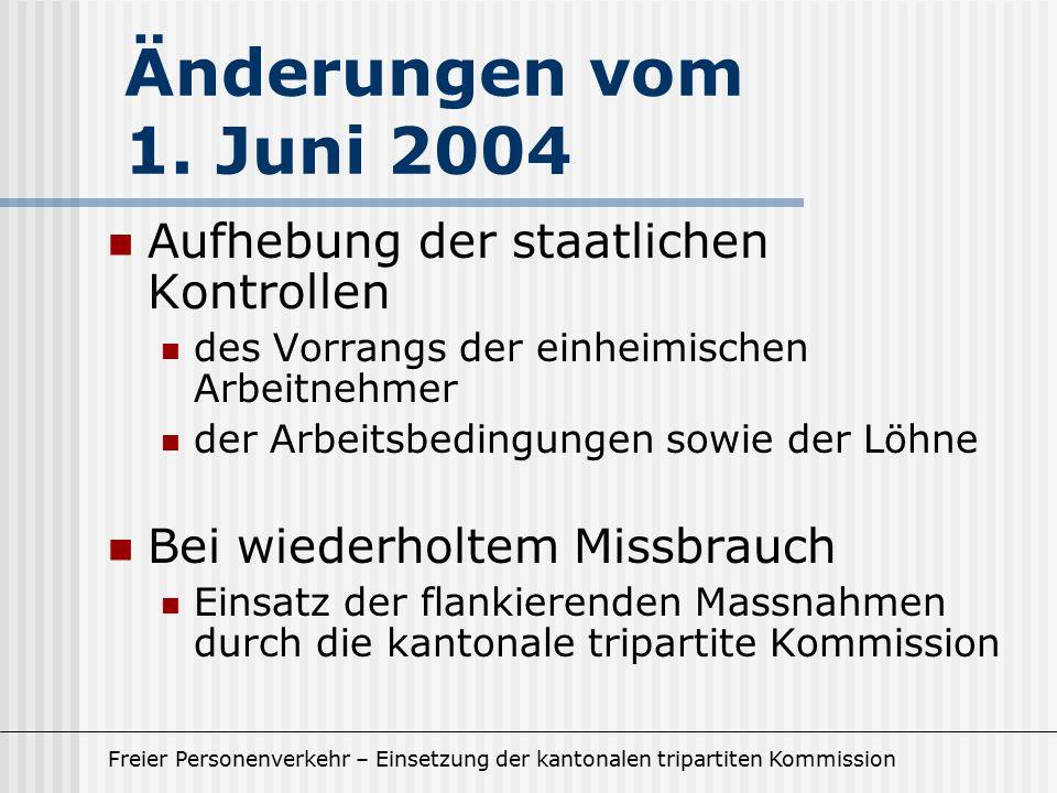 Freier Personenverkehr – Einsetzung der kantonalen tripartiten Kommission Aufhebung der staatlichen Kontrollen des Vorrangs der einheimischen Arbeitne