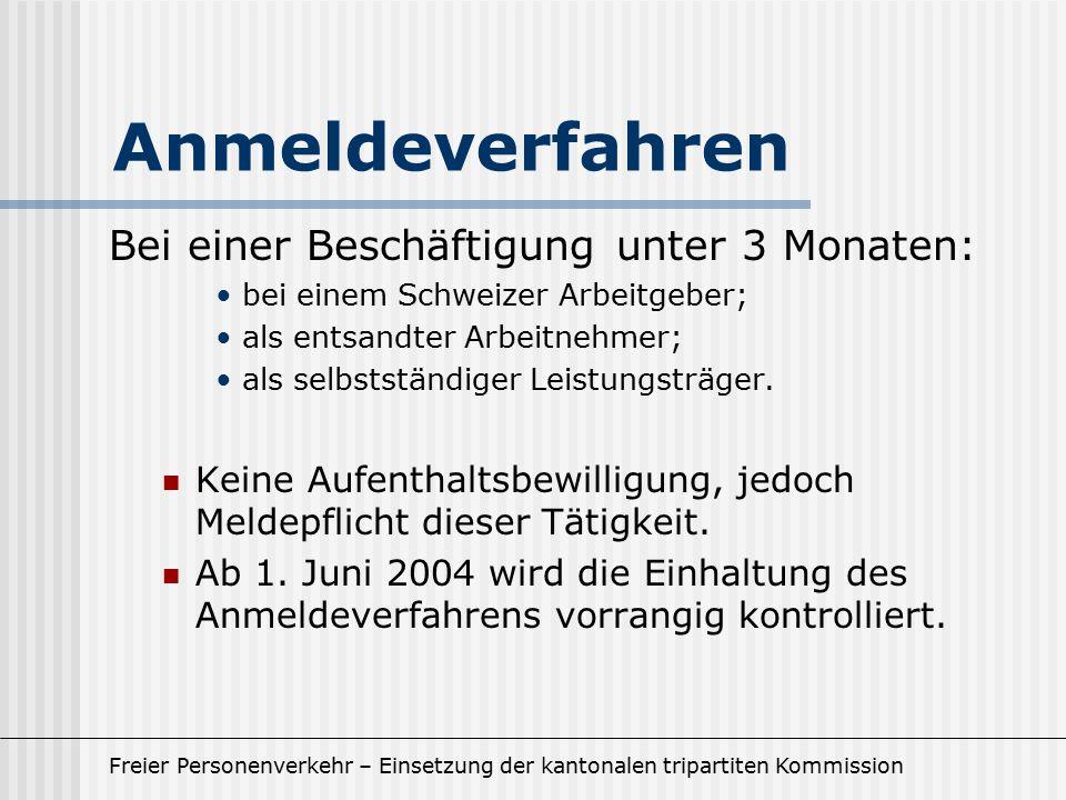 Freier Personenverkehr – Einsetzung der kantonalen tripartiten Kommission Anmeldeverfahren Bei einer Beschäftigung unter 3 Monaten: bei einem Schweizer Arbeitgeber; als entsandter Arbeitnehmer; als selbstständiger Leistungsträger.