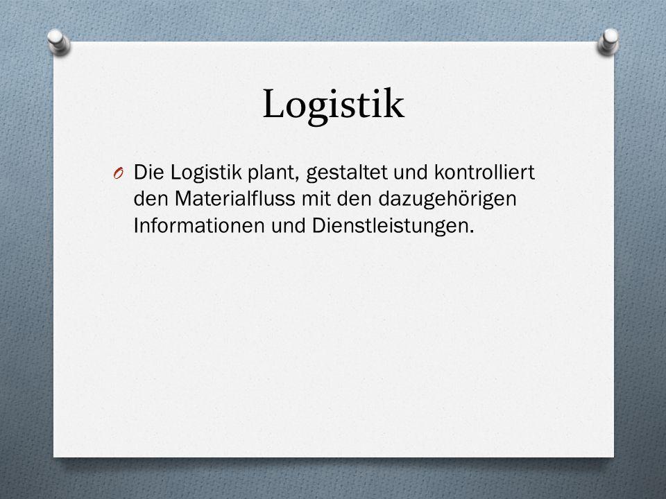 Logistik O Die Logistik plant, gestaltet und kontrolliert den Materialfluss mit den dazugehörigen Informationen und Dienstleistungen.