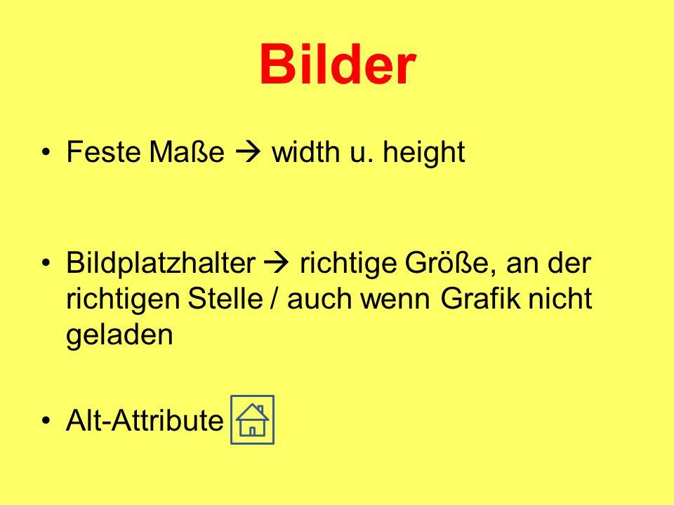 Bilder Feste Maße  width u.