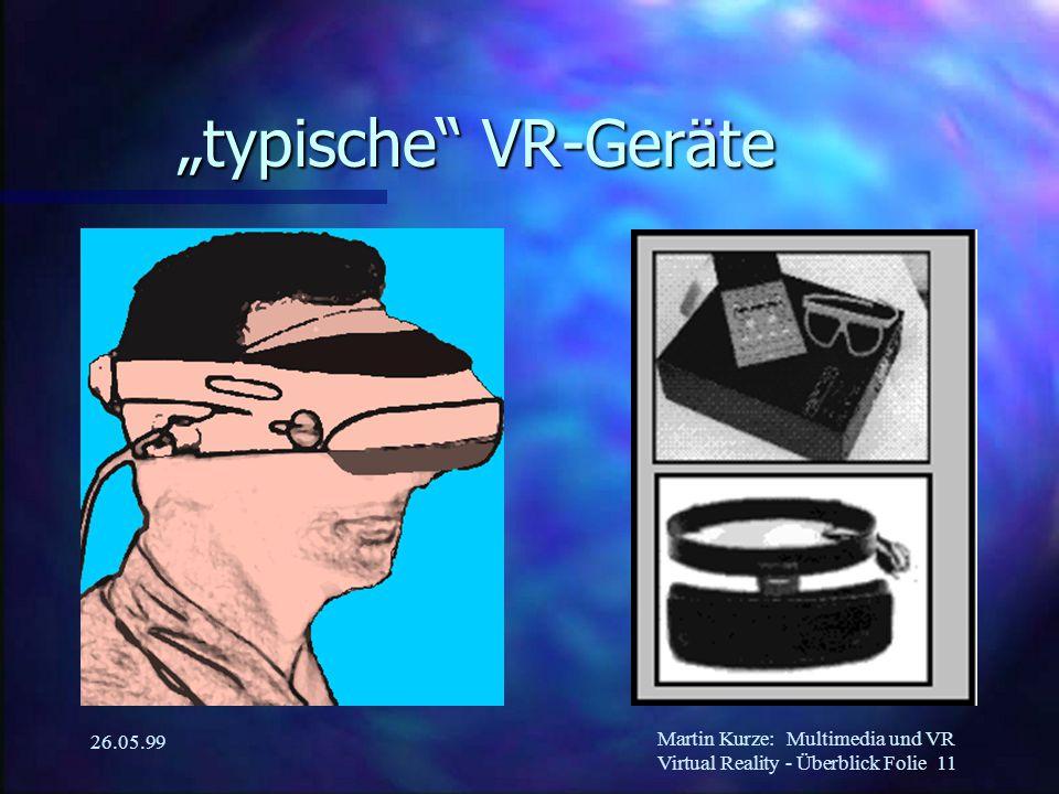 """Martin Kurze:Multimedia und VR Virtual Reality - Überblick Folie 11 26.05.99 """"typische VR-Geräte"""