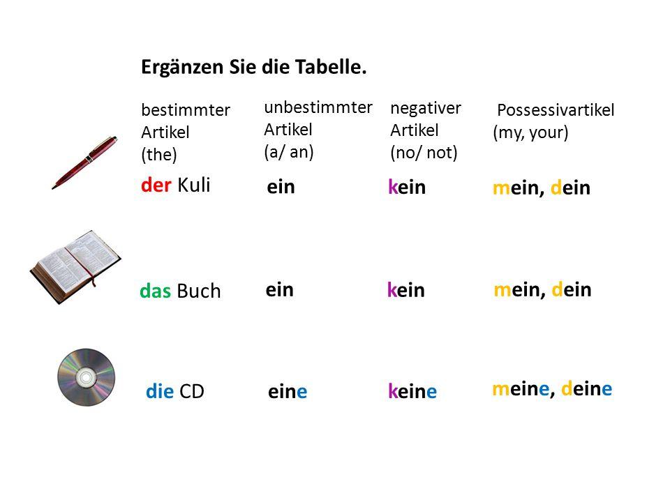 Ergänzen Sie die Tabelle. negativer Artikel (no/ not) unbestimmter Artikel (a/ an) bestimmter Artikel (the) der Kuli die CD das Buch ein eine ein kein