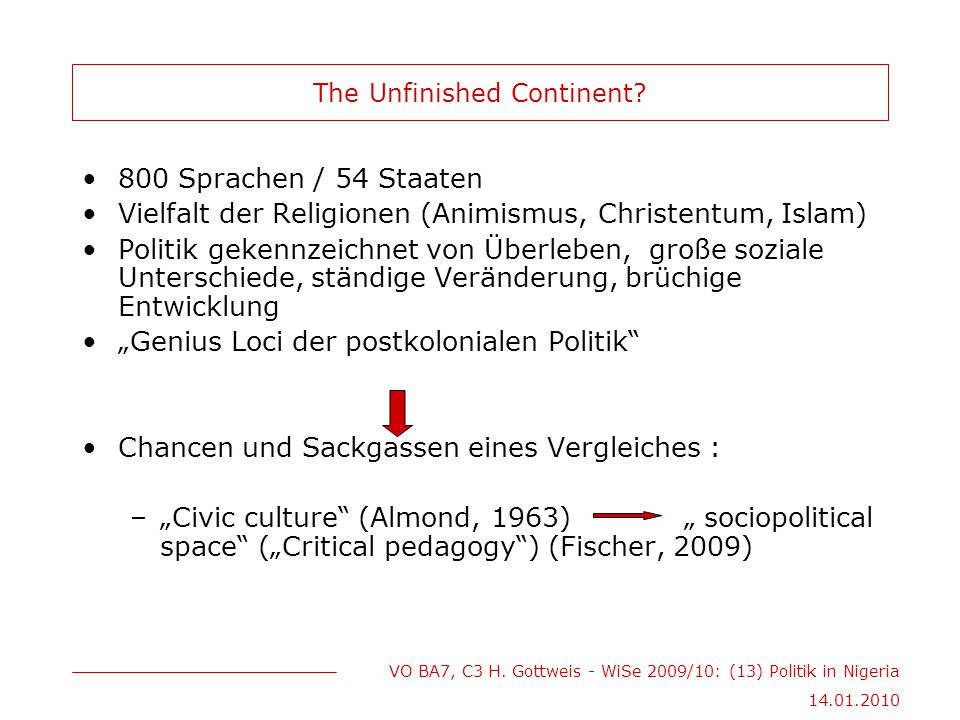 VO BA7, C3 H.Gottweis - WiSe 2009/10: (13) Politik in Nigeria 14.01.2010 The Unfinished Continent.