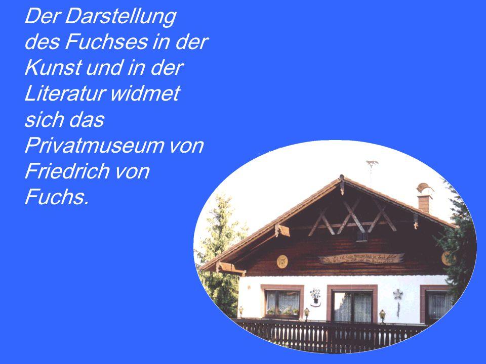 Der Darstellung des Fuchses in der Kunst und in der Literatur widmet sich das Privatmuseum von Friedrich von Fuchs.