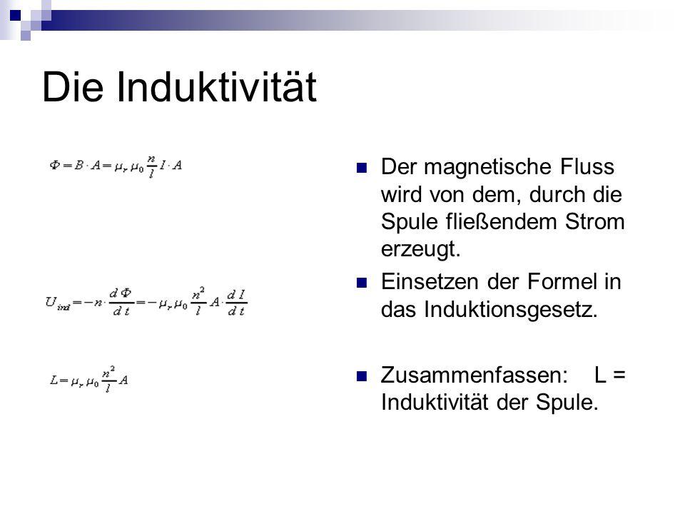 Die Induktivität Der magnetische Fluss wird von dem, durch die Spule fließendem Strom erzeugt. Einsetzen der Formel in das Induktionsgesetz. Zusammenf
