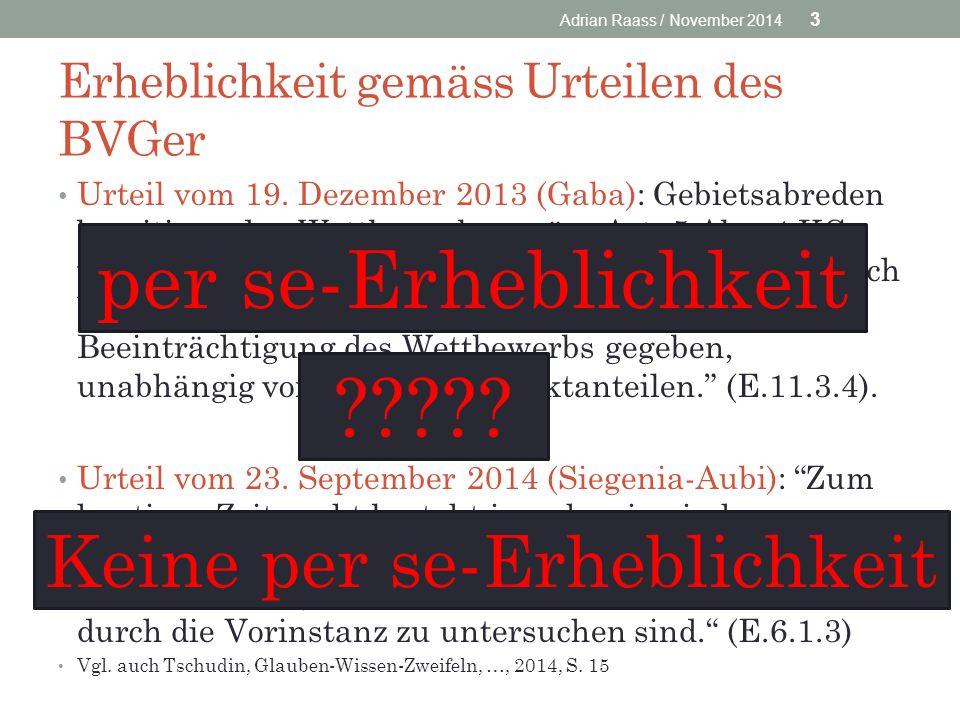 Erheblichkeit gemäss Urteilen des BVGer Urteil vom 19. Dezember 2013 (Gaba): Gebietsabreden beseitigen den Wettbewerb gemäss Art. 5 Abs. 4 KG vermutun
