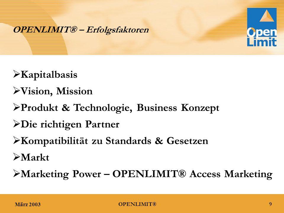 März 20039OPENLIMIT® OPENLIMIT® – Erfolgsfaktoren  Vision, Mission  Produkt & Technologie, Business Konzept  Markt  Marketing Power – OPENLIMIT® Access Marketing  Die richtigen Partner  Kompatibilität zu Standards & Gesetzen  Kapitalbasis