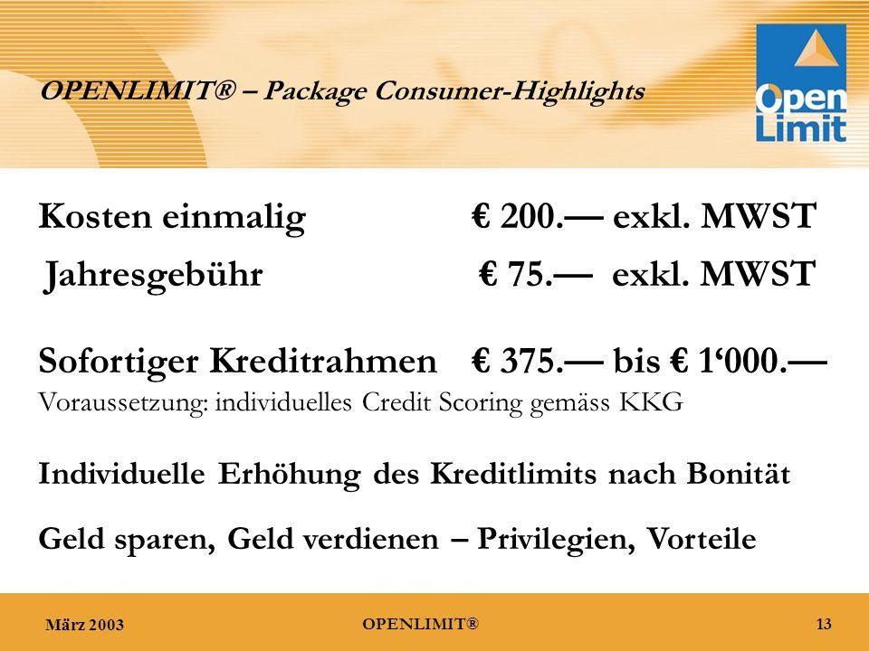 März 200313OPENLIMIT® OPENLIMIT® – Package Consumer-Highlights Kosten einmalig € 200.— exkl.