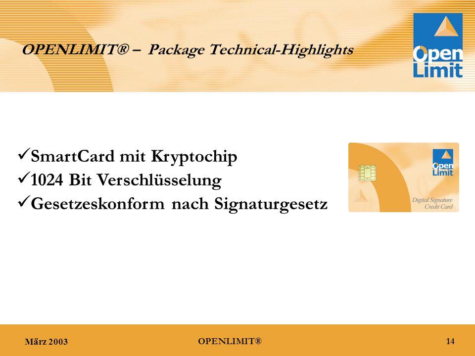 März 200314OPENLIMIT® OPENLIMIT® – Package Technical-Highlights 1024 Bit Verschlüsselung SmartCard mit Kryptochip Gesetzeskonform nach Signaturgesetz