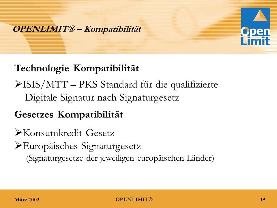 März 200319OPENLIMIT® OPENLIMIT® – Kompatibilität Technologie Kompatibilität  ISIS/MTT – PKS Standard für die qualifizierte Digitale Signatur nach Signaturgesetz Gesetzes Kompatibilität  Konsumkredit Gesetz  Europäisches Signaturgesetz (Signaturgesetze der jeweiligen europäischen Länder)