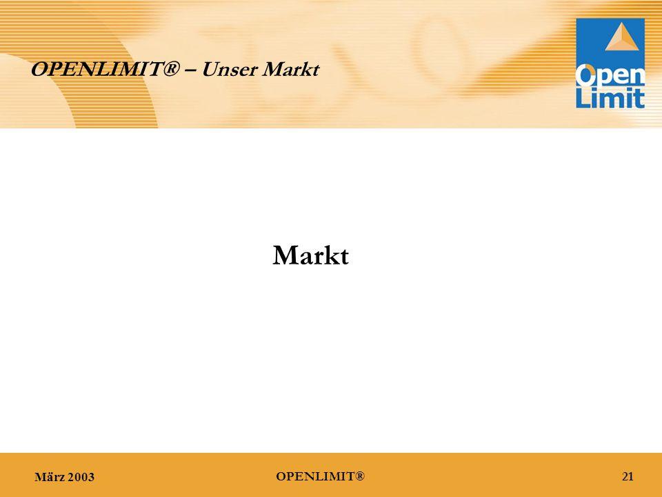 März 200321OPENLIMIT® OPENLIMIT® – Unser Markt Markt