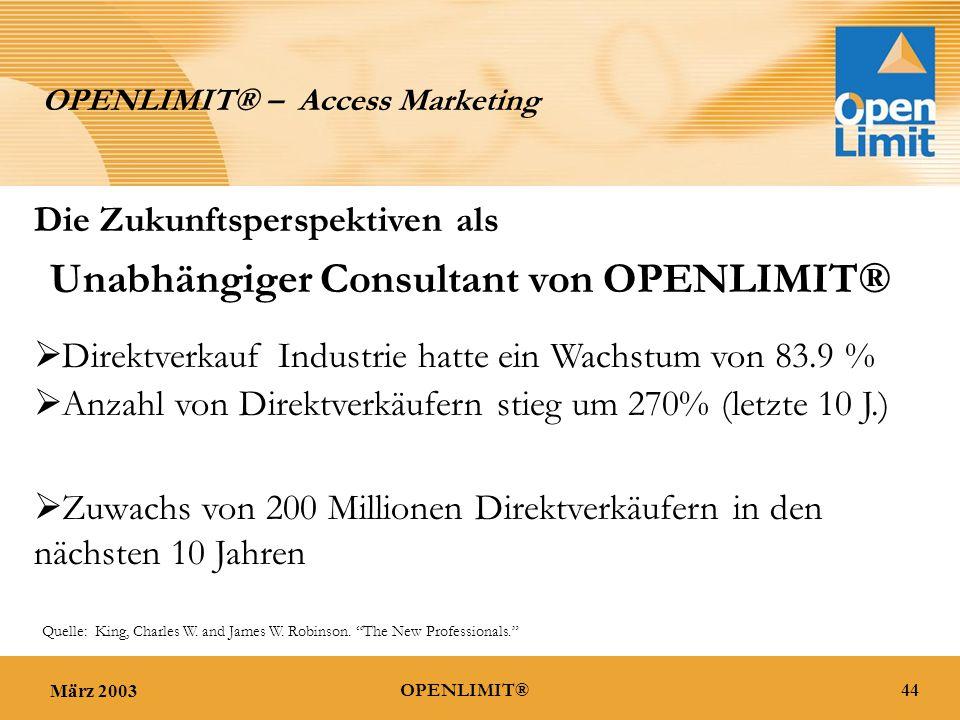 März 200344OPENLIMIT® OPENLIMIT® – Access Marketing  Direktverkauf Industrie hatte ein Wachstum von 83.9 %  Anzahl von Direktverkäufern stieg um 270% (letzte 10 J.)  Zuwachs von 200 Millionen Direktverkäufern in den nächsten 10 Jahren Quelle: King, Charles W.