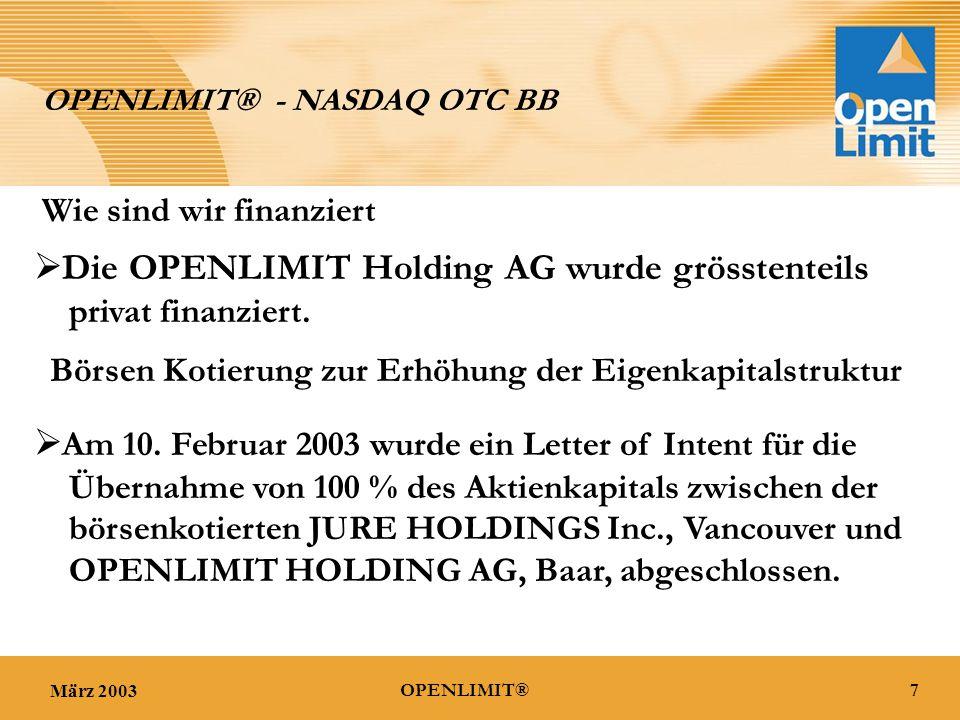 März 20037OPENLIMIT® OPENLIMIT® - NASDAQ OTC BB  Am 10.