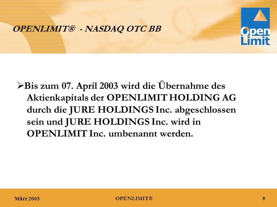 März 20038OPENLIMIT® OPENLIMIT® - NASDAQ OTC BB  Bis zum 07.