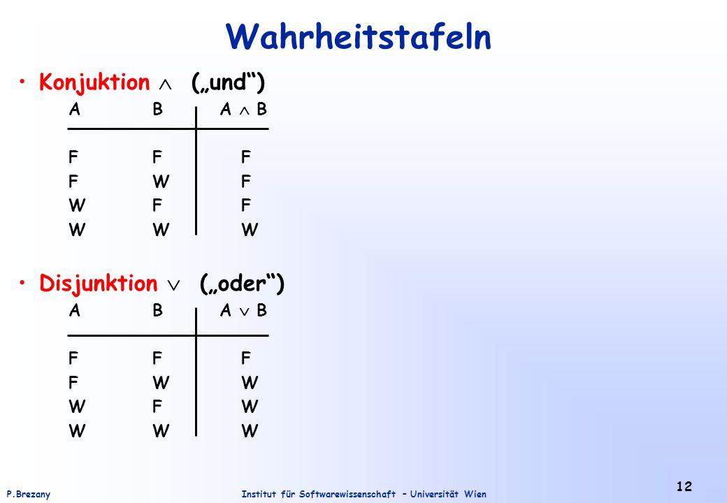"""Institut für Softwarewissenschaft – Universität WienP.Brezany 12 Wahrheitstafeln Konjuktion  (""""und"""") AB A  B FF F FW F WF F WW W Disjunktion  (""""ode"""