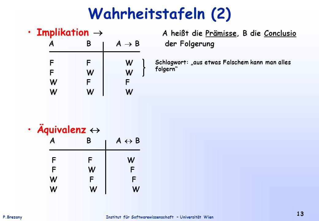 Institut für Softwarewissenschaft – Universität WienP.Brezany 13 Wahrheitstafeln (2) Implikation  A heißt die Prämisse, B die Conclusio AB A  B der