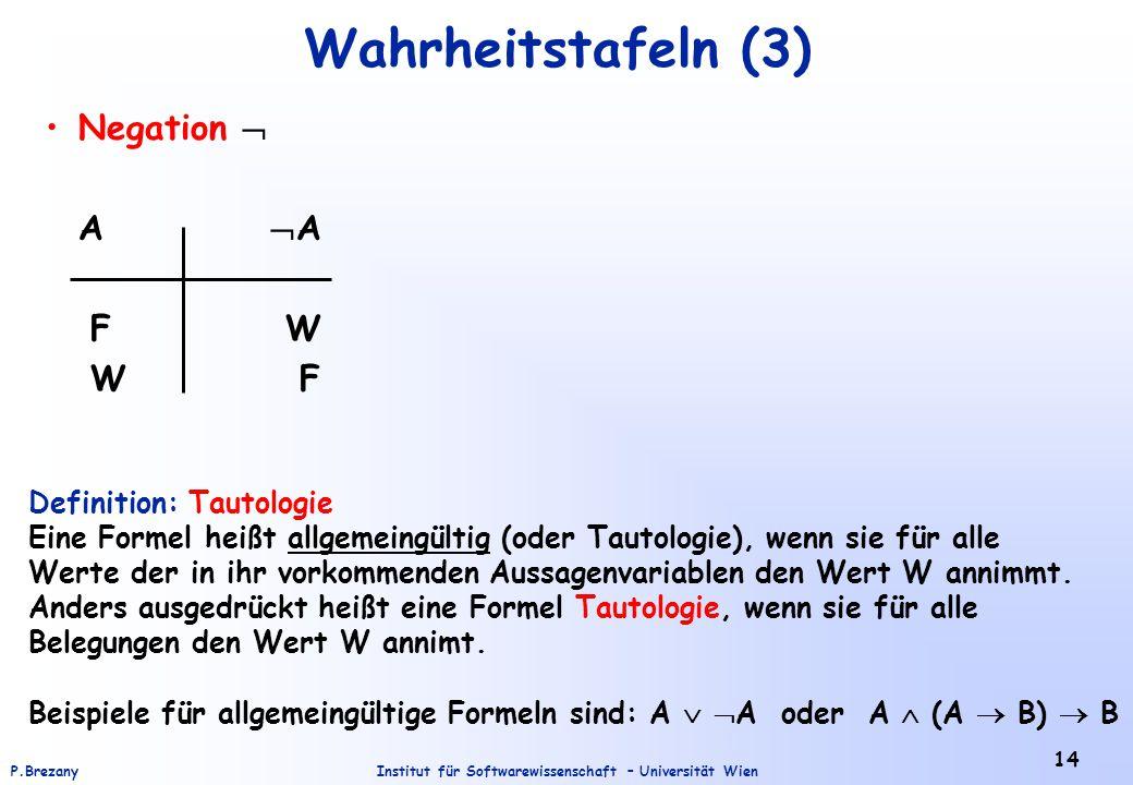 Institut für Softwarewissenschaft – Universität WienP.Brezany 14 Wahrheitstafeln (3) Negation  A  A F W W F Definition: Tautologie Eine Formel heißt
