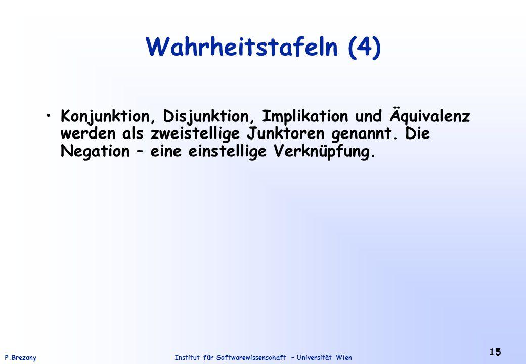 Institut für Softwarewissenschaft – Universität WienP.Brezany 15 Wahrheitstafeln (4) Konjunktion, Disjunktion, Implikation und Äquivalenz werden als z