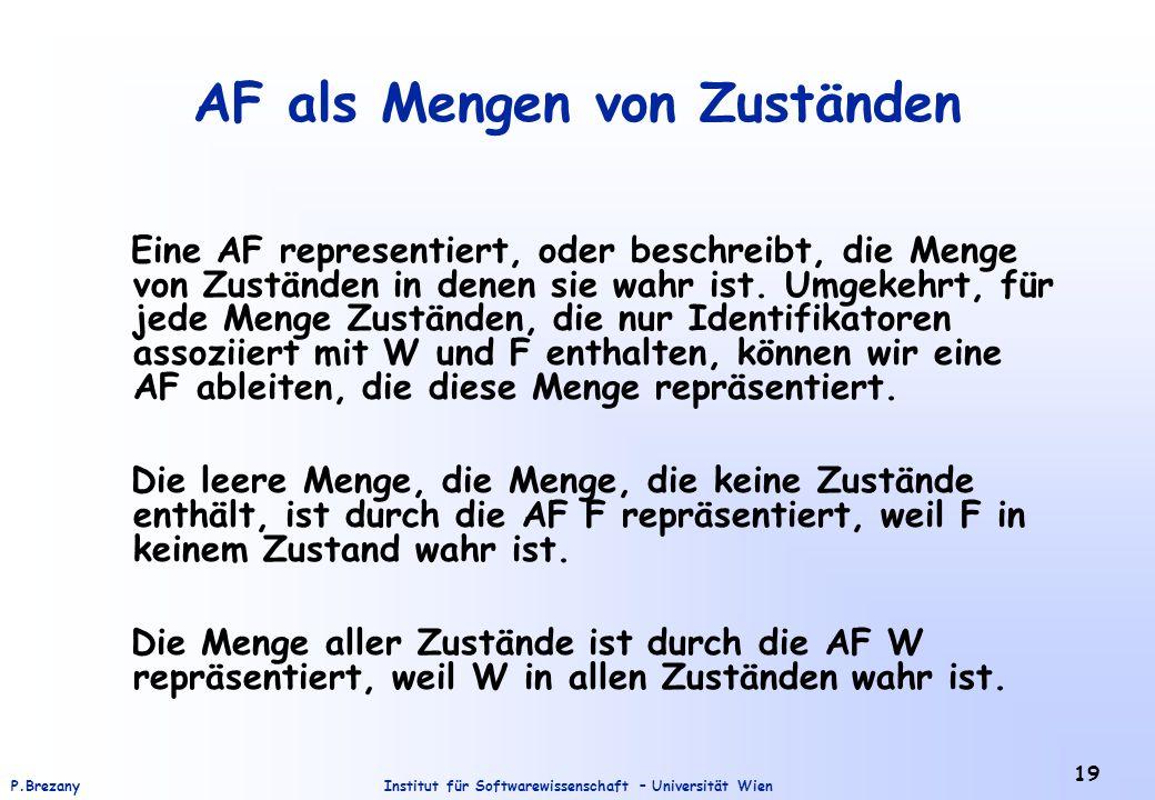 Institut für Softwarewissenschaft – Universität WienP.Brezany 19 AF als Mengen von Zuständen Eine AF representiert, oder beschreibt, die Menge von Zus