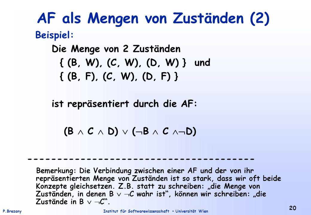 Institut für Softwarewissenschaft – Universität WienP.Brezany 20 AF als Mengen von Zuständen (2) Beispiel: Die Menge von 2 Zuständen { (B, W), (C, W),