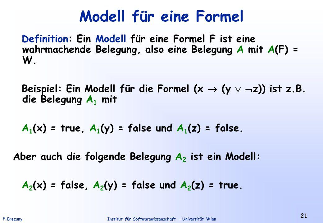 Institut für Softwarewissenschaft – Universität WienP.Brezany 21 Modell für eine Formel Definition: Ein Modell für eine Formel F ist eine wahrmachende