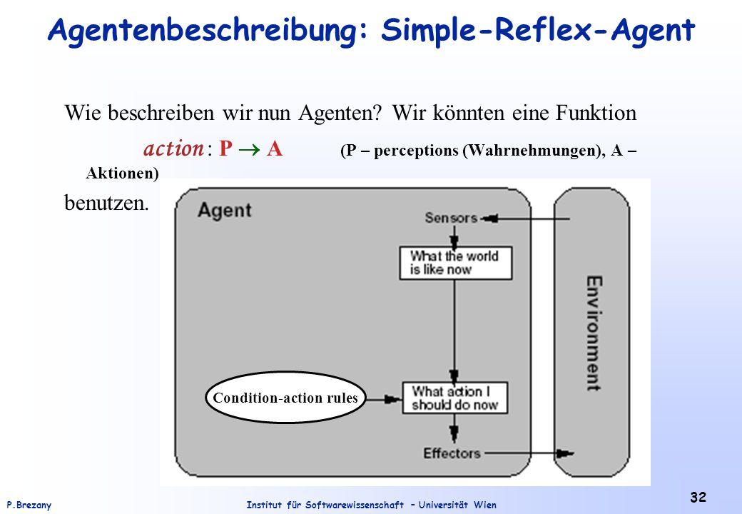 Institut für Softwarewissenschaft – Universität WienP.Brezany 32 Agentenbeschreibung: Simple-Reflex-Agent Wie beschreiben wir nun Agenten? Wir könnten