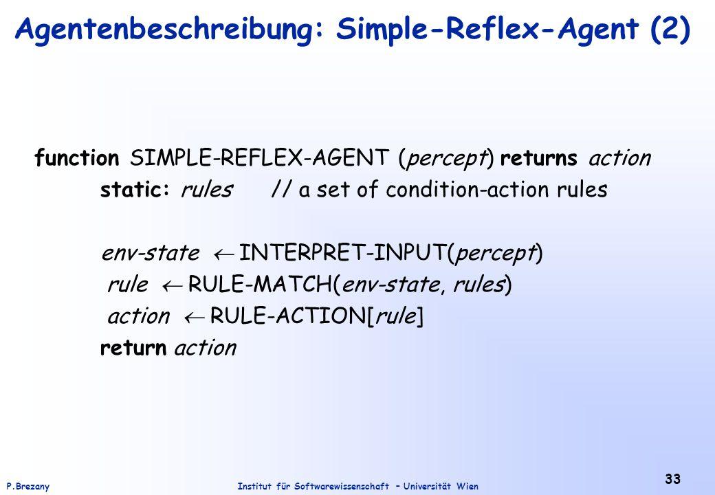Institut für Softwarewissenschaft – Universität WienP.Brezany 33 Agentenbeschreibung: Simple-Reflex-Agent (2) function SIMPLE-REFLEX-AGENT (percept) r