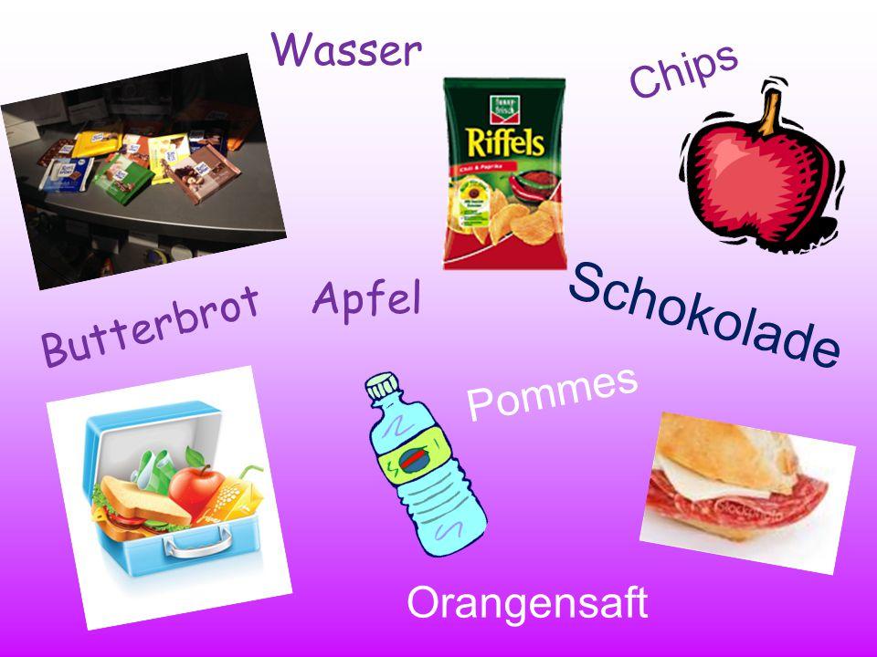 Das Pausenbrot Ich esse gern…I like to eat… Ich esse nicht gern… I don't like to eat… Chipscrisps Pommes chips Schokoladechocolate eine Bananea banana eine Orangean orange einen Apfelan apple Keksebiscuits ein Butterbrota sandwich Bonbons/ Süßigkeiten sweets Ich trinke gern…I like to drink… Ich trinke nicht gern… I don't like to drink… eine ColaCoke einen Orangensaftorange juice Wasser water Es ist… It is… lecker delicious gut good super nicht gut not good schlecht bad ekelhaft disgusting