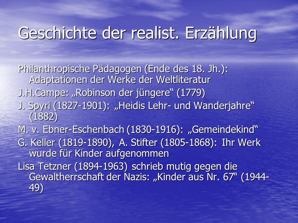 """Geschichte der realist. Erzählung Philanthropische Pädagogen (Ende des 18. Jh.): Adaptationen der Werke der Weltliteratur J.H.Campe: """"Robinson der jün"""