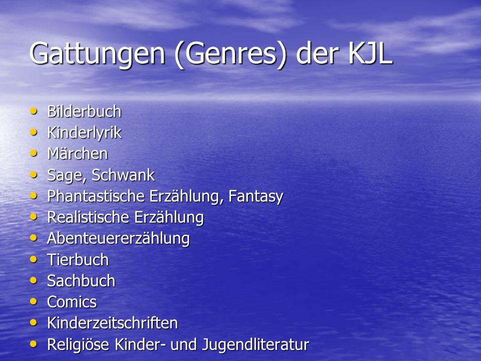 Gattungen (Genres) der KJL Bilderbuch Bilderbuch Kinderlyrik Kinderlyrik Märchen Märchen Sage, Schwank Sage, Schwank Phantastische Erzählung, Fantasy