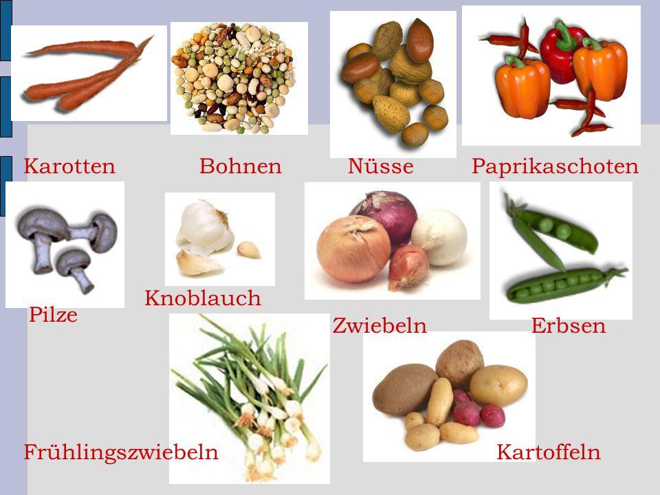 KarottenNüsse Pilze Erbsen Paprikaschoten Frühlingszwiebeln Bohnen Zwiebeln Kartoffeln Knoblauch