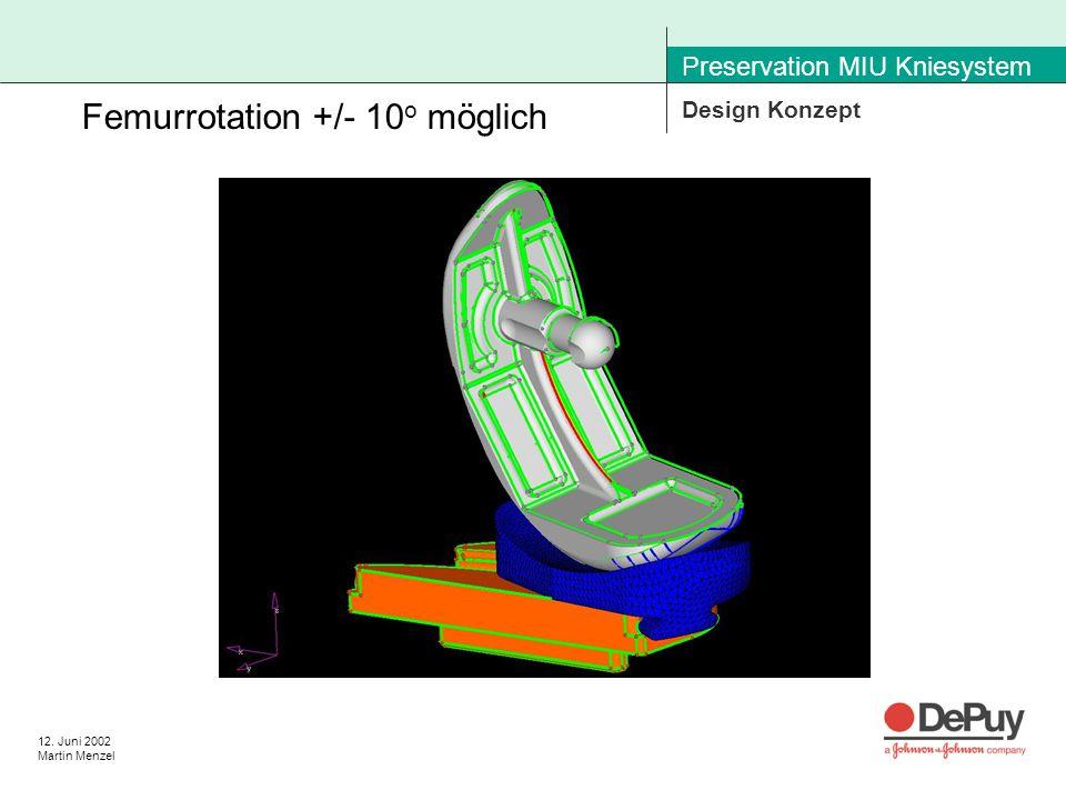 12. Juni 2002 Martin Menzel Preservation MIU Kniesystem Design Konzept Femurrotation +/- 10 o möglich