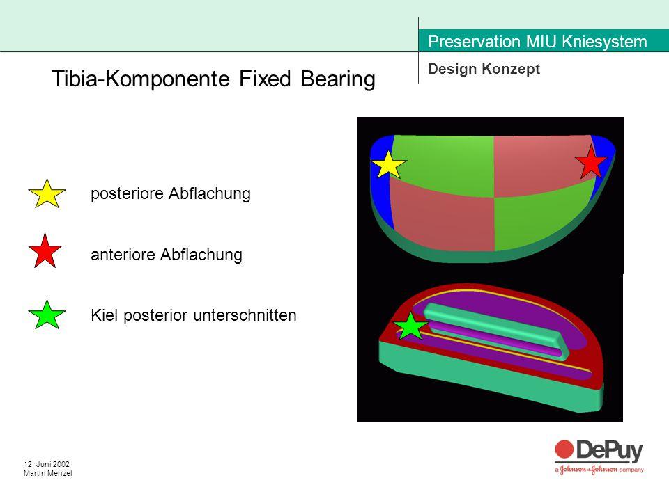 12. Juni 2002 Martin Menzel Preservation MIU Kniesystem Design Konzept Tibia-Komponente Fixed Bearing posteriore Abflachung anteriore Abflachung Kiel